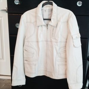 Jackets & Blazers - White leather motorcycle jacket new xl